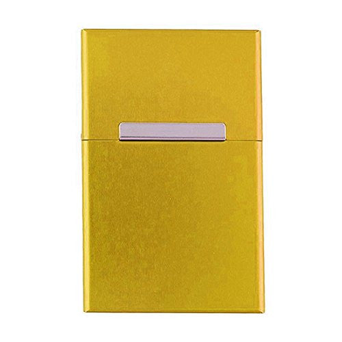 Hestio 20s Gold Color Aluminum Full Pack Cigarette Case Holder Box
