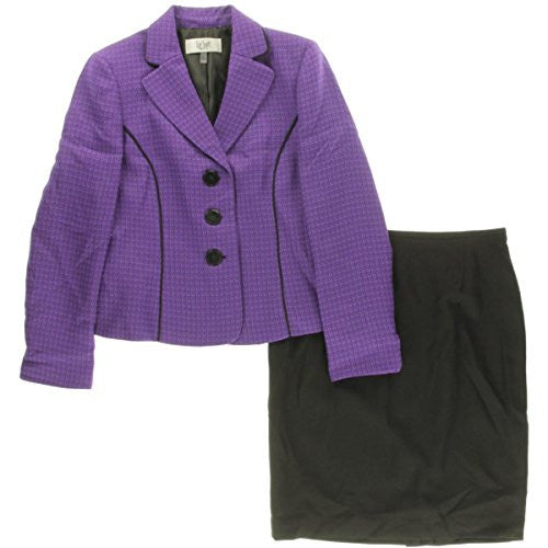 Le Suit Womens Petites Monte Carlo Tweed 2PC Skirt Suit Purple 8P