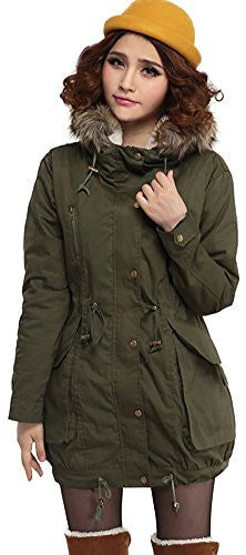 Ilishop Women's Plus Size Quilted Coat Green Casual Parkas Short Cotton-padded Coat with Hood Armygreen L-US20W