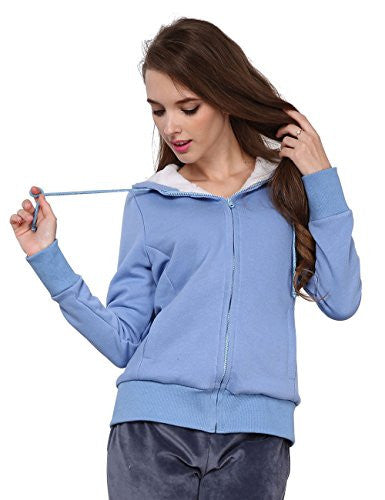 Godsen Women's Fleece Hoodie Sweatshirts Zipper Jacket Sweater (US-XXS/CN-S, Blue)