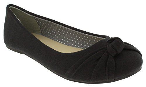 Capelli New York Knotted Jersey Fabric Detail Ladies Flats Black 9