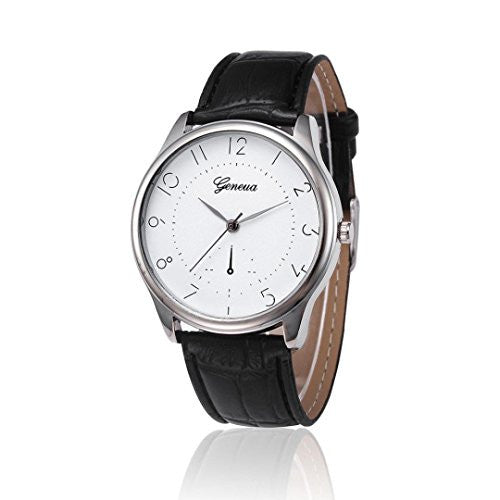 Hemlock Classic Men's Womens Retro Watches PU Leather Band Quartz Wrist Watches Black