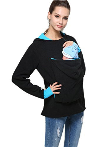 Ikerenwedding Womens Maternity Kangaroo Hoodie Top Carrier Baby Holder Sweatshirts