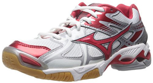 Mizuno Women's Wave Bolt 4 WH-RD Volleyball Shoe, White/Red, 9.5 D US