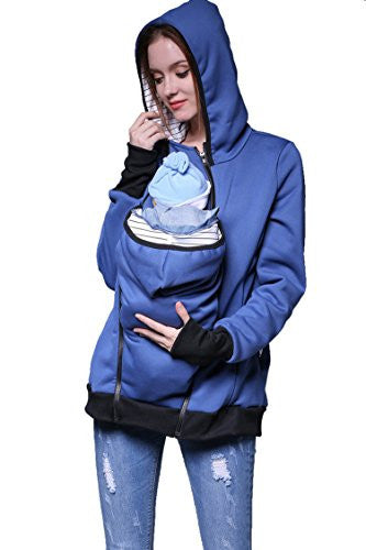 Sovoyant Women's Maternity Warm Hooded Kangaroo Sweatshirt With Baby Carriers