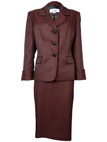 Le Suit Women's Woven Dot Pattern Bordeaux Skirt Suit (8P, Ruby/Black)