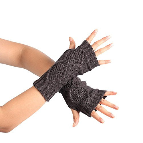HN Fashion Knitted Arm Fingerless Winter Gloves Soft Warm Mitten (Dark Gray)