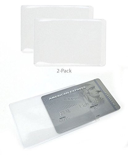 2 Pack - Protective Clear Credit Card Sleeve Holder
