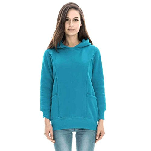 Maternity Nursing Clothes, Robiear Warm Baby Breastfeeding Clothing Pregnancy Hoodie Top (XXL, Blue)
