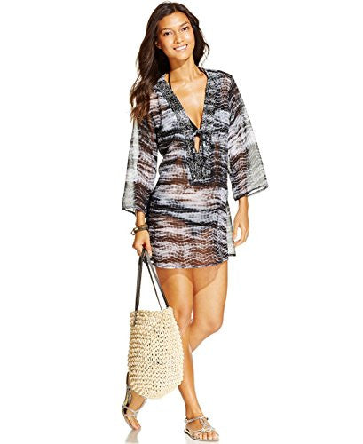 Raviya Tribal-Print Beaded Cover-Up Women's Swimsuit Large