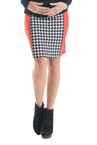 Lilac Paneled Pencil Maternity Skirt - Houndstooth - Black/Red - X-Small