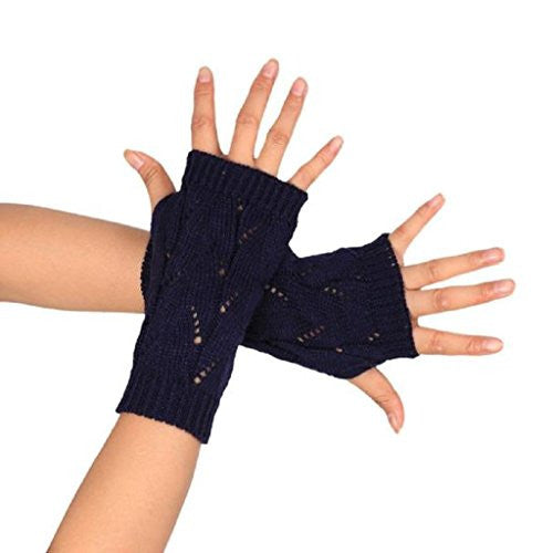 TOOPOOT Women's Branches Pattern Kknitted Arm Fingerless Winter Warmers Gloves (navy)