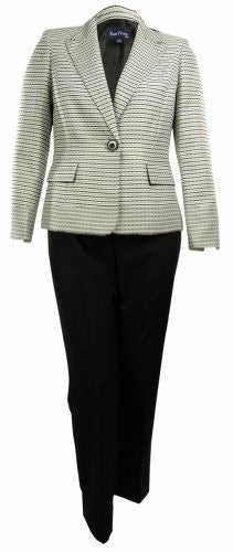 Women's Contrast Business Suit Pant & Jacket Set (2P, Khaki/Multi)