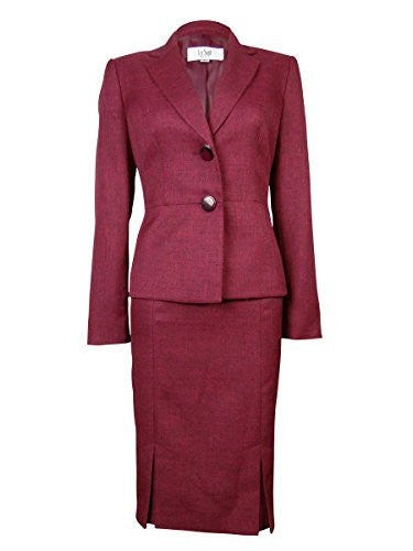 Le Suit Women's Pleated St. Tropez Skirt Suit (4P, Roseberry)