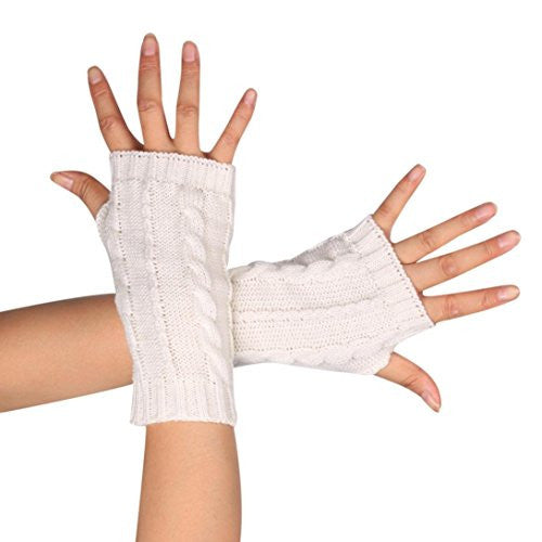 AMA(TM) Women Winter Knitted Arm Fingerless Gloves with Thumb Hole (White)