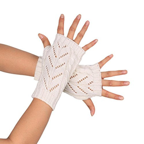 MALLOOM Women Fashion Knitted Arm Gloves Fingerless Thumb Hole Hand Warmer Mitten (White)