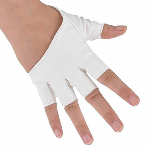 Acamifashion Fashion Ladies Faux PU Leather Half Finger Half Palm Gloves Mitten - White