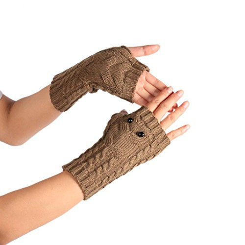 Emubody Winter Wrist Arm Hand Warmer Knitted Long Fingerless Gloves Mitten (Coffee)
