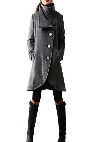 Idea2lifestyle Women's Cashmere Coat Crystal Buttoned Gray