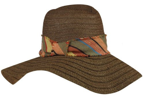 Capelli New York Wide Paper Floppy Fedora Hat With A Band Brown Combo