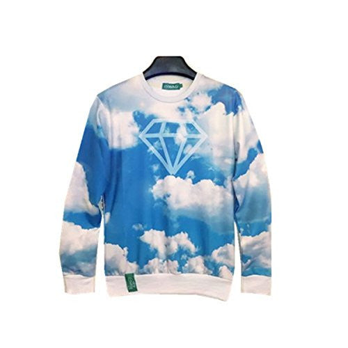 Men's Hip Hop 3D Print Emoji Graphic Galaxy Pullovers Sweatshirts(Cloud,XL)