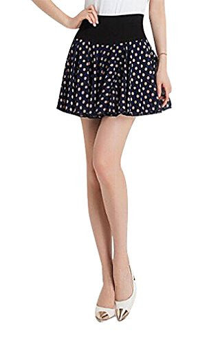 MTRNTY Women's Maternity Stylish Elastic Waist Chiffon Polka Dot Short Skirt, Large