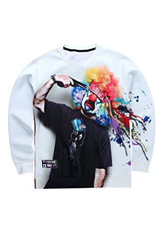 Ancia Unisex Digital Print Crew Neck Pullovers Sweater Sweatshirts(Clown gun,L)