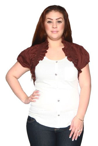 Libian Jr Plus Poplin Smocking Ruched Bolero Shrug (3X, Mahogany Brown)