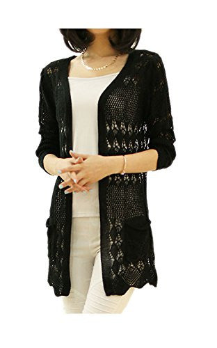 ARJOSA Women's Fashion Pockets Crochet Cable Knit Open Front Cardigan Sweater Knitwear Coat Jacket (#6 Black)