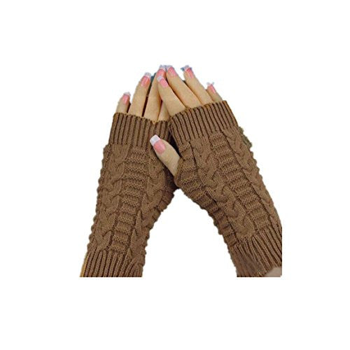 HN Fashion Knitted Arm Fingerless Winter Gloves Unisex Soft Warm Mitten (Khaki)