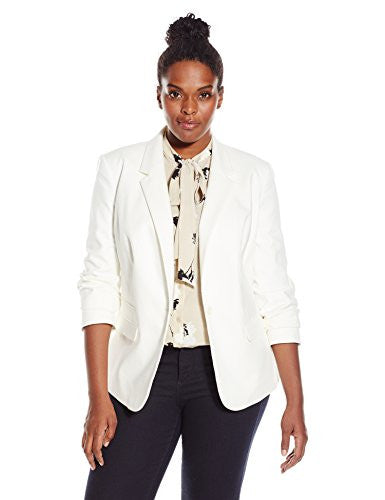 Vince Camuto Women's Plus-Size One Button Blazer, New Ivory, 20W