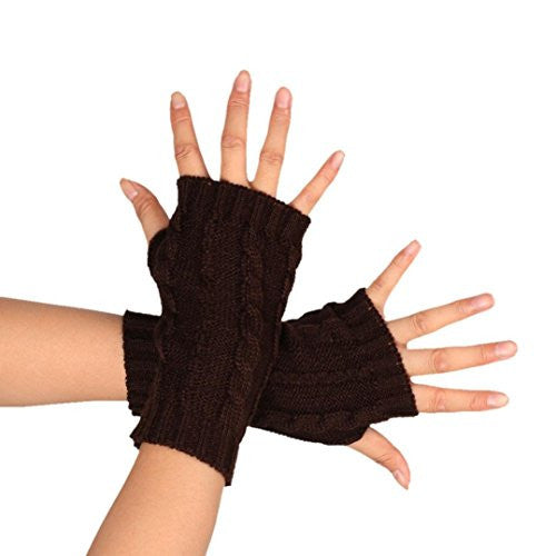 MALLOOM Women Fashion Knitted Braided Arm Gloves Fingerless Thumb Hole Hand Warmer Mitten (Coffee)