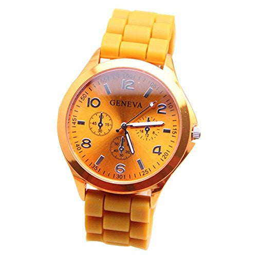 Ladies GENEVA Watch Classic Gel Crystal Silicone Jelly watch Orange