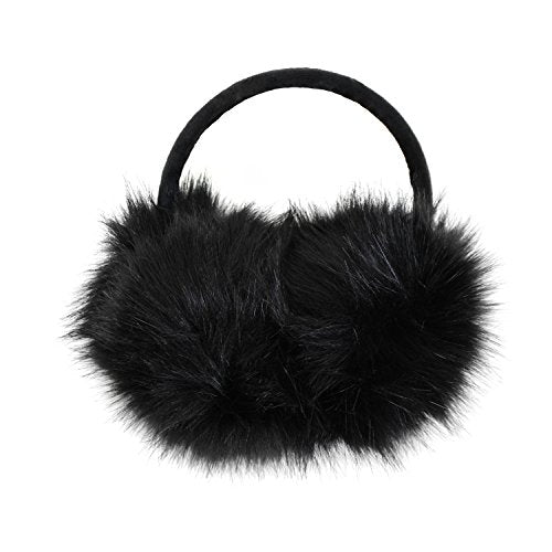 Luxurious Faux Fur Winter Chic Earmuffs- Large Oversized Soft Furry Ear Warmers (Black)