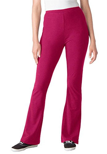 Plus Size Woman Within Tall Knit Bootcut Yoga Pants (Cherry Red,1X)
