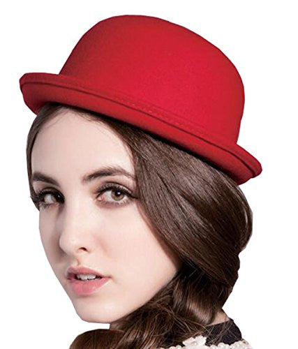 SYTX Women 's Cute Dome Imitation Wool Hat Fedoras Red OS