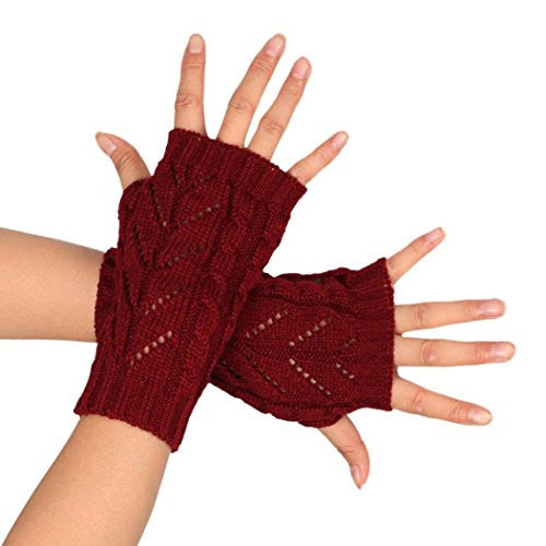 AMA(TM) Women Winter Knitted Arm Fingerless Gloves with Thumb Hole (Red)