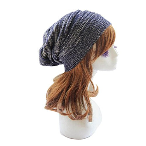 Winhurn Women New Stylish Winter Warm Knitted Baggy Beanie Cap Hat (Blue)