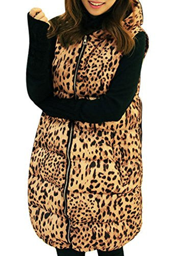Lady Zip Up Leopard Prints Long Hoodie Down Vest Orche Black XS