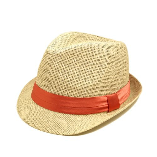 TrendsBlue Classic Natural Fedora Straw Hat with Coral Color Band