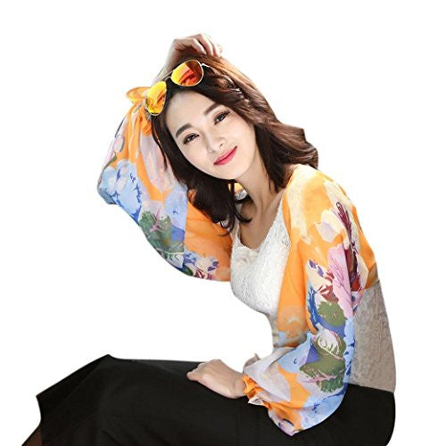 Binmer(TM) Women Beach Sunscreen Cuff Chiffon Printed Silk Scarf Driving Sleeves (Orange )