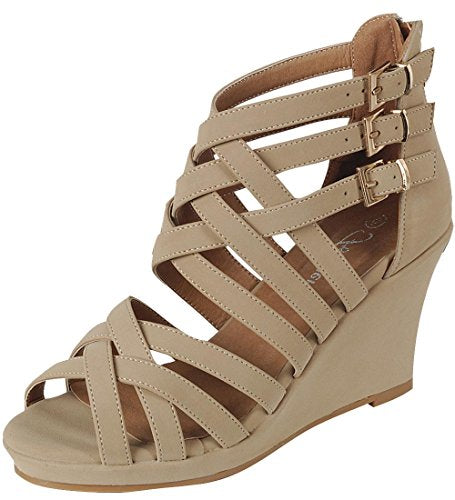 Forever Link Strappy Interwoven Buckle Accent Wedge Sandal (10 B(M) US, Taupe Nubuck)