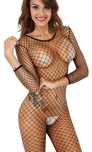 Freemale Women's Industrial Sexy Lingerie Net Crotchless Bodystocking (Black)