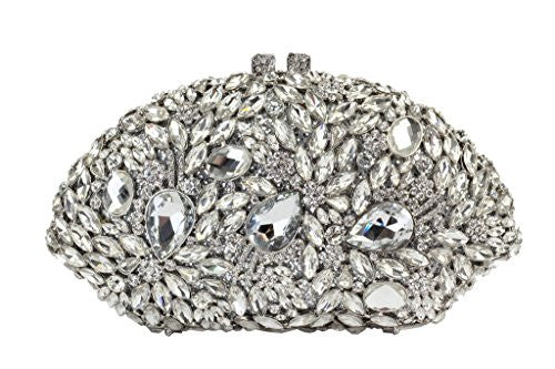 Yilongsheng Ladies Fanshaped Evening Handbags with Glittery Beaded Crystal Diamonds(Silver)