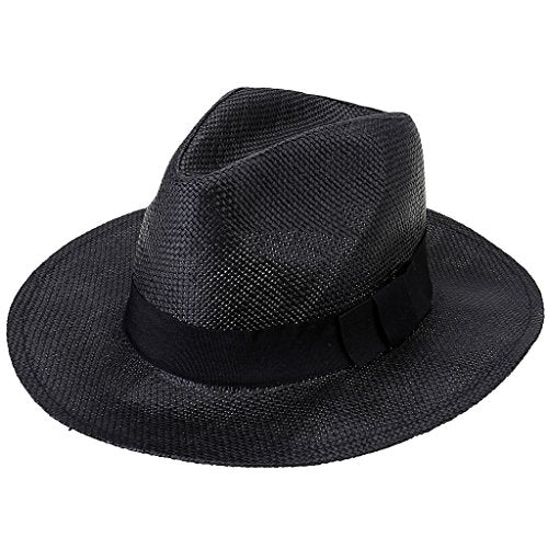Ayliss Short Brim Straw Fedora Hat Beach Sun Cap with Band Design,Black