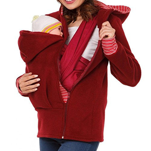 Womens Winter Warm Outdoor Baby Carrier Kangaroo Hoodie Pregnant Maternity Sweatshirts (S, Red)