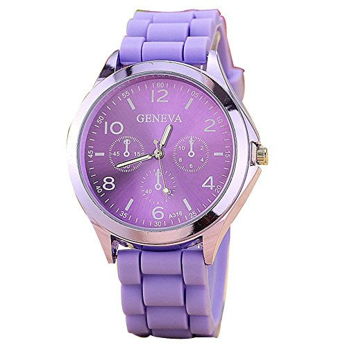 Ladies GENEVA Watch Classic Gel Crystal Silicone Jelly watch Purple