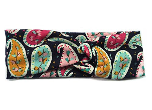 Women Ladies Elastic Flower Printed Turban Head Wrap Headband Twisted Hair Band (G-Cashew-3)