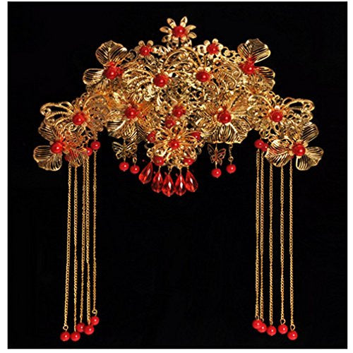 Golden red wedding Chinese tassel retro crown tiara headdress cheongsam frontlet
