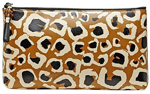 Gucci Leopard Print Bamboo Leather Pouch Clutch